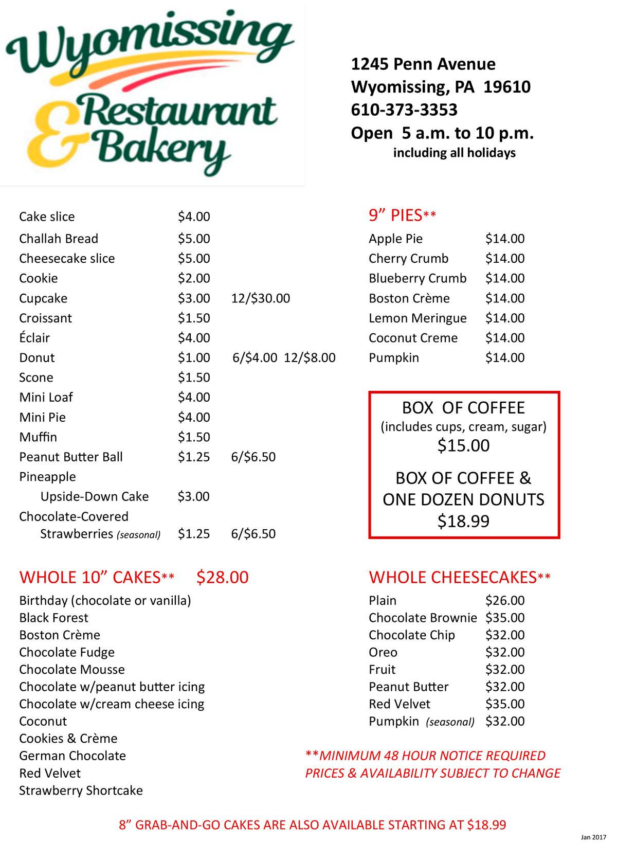 menu wyomissing restaurant amp bakery